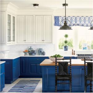 kitchen-design-in-ellijay -ga-cobalt-blue-base-cabinets-ivory-top-cabinets-butcher-block-island